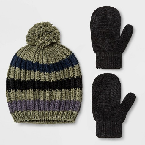 Toddler Boys' Striped Knit Pom Beanie and Mittens - Cat & Jack™ Green 2T-5T - image 1 of 1