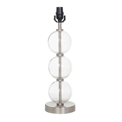 Large Stacked Clear Glass Ball Table Lamp Base Nickel Threshold
