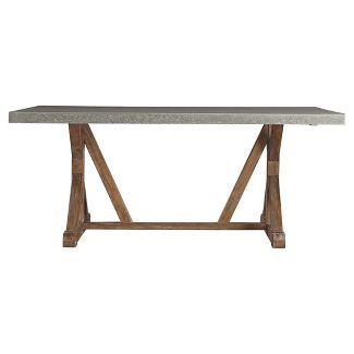 Camilla Farmhouse Concrete - Topped Trestle Dining Table - Vintage Pine - Inspire Q