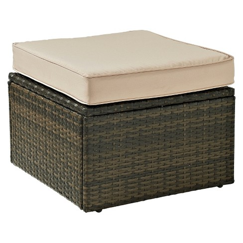 Palm Harbor Outdoor Wicker Ottoman In Brown with Sand Cushions - Crosley - image 1 of 1