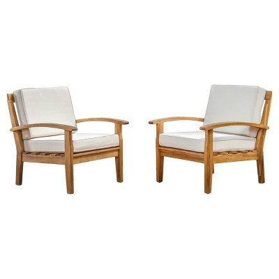 Peyton Set of 2 Acacia Wood Club Chairs With Cushions - Beige - Christopher Knight Home
