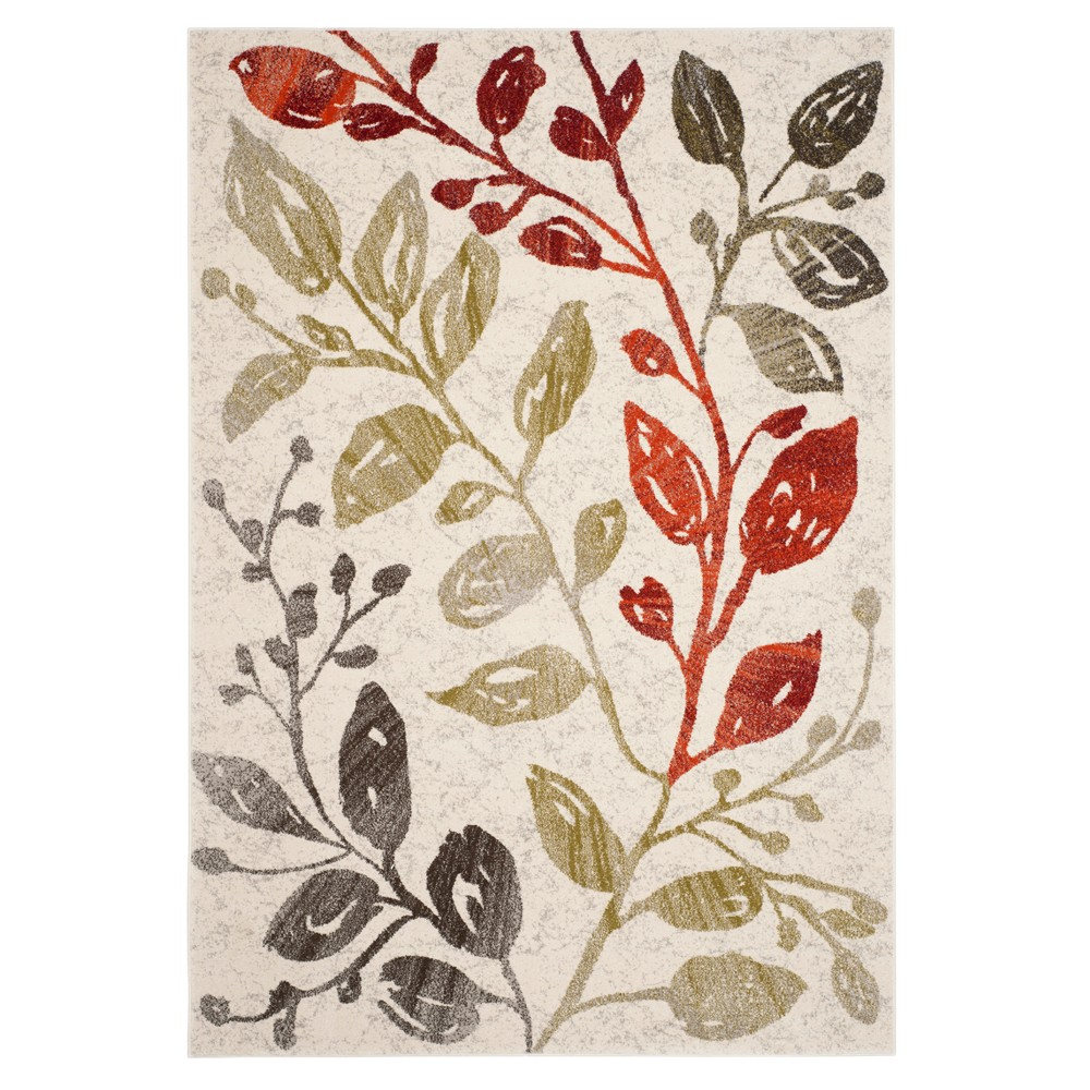 Ivory/Red Leaf Loomed Area Rug 6'7