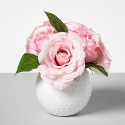 Artificial Rose Arrangement in Ceramic Pot Pink/White - Opalhouse™