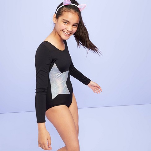 Girls' Glitter Star 3/4 Sleeve Gymnastics Leotard - More than Magic™ Black - image 1 of 3