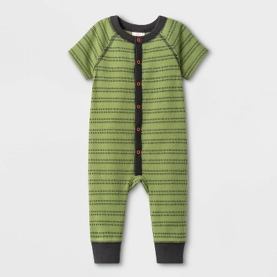 Baby Boys' Elevated Short Sleeve Romper - Cat & Jack™ Green Newborn