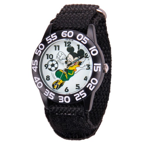 Boys' Disney Mickey Mouse Plastic Watch - Black - image 1 of 2