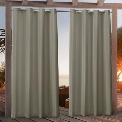 "84""x54"" Canvas Grommet Top Light Filtering Window Curtain Panels Khaki - Nicole Miller"