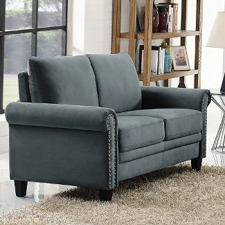 Averton Microfiber Upholstery Loveseat with Nailhead Trimming in Day Gray - Lifestyle Solutions