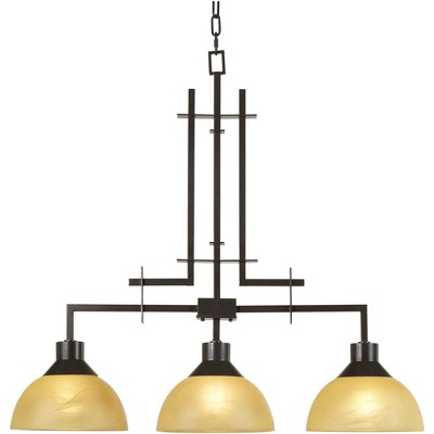 """Franklin Iron Works Polished Bronze Linear Pendant Chandelier 33 3/4"""" Wide Modern Rustic 3-Light Fixture for Island Dining Room"""