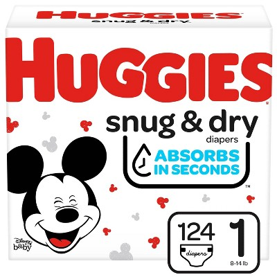 Huggies Snug & Dry Diapers Super Pack - Size 1 (124ct)