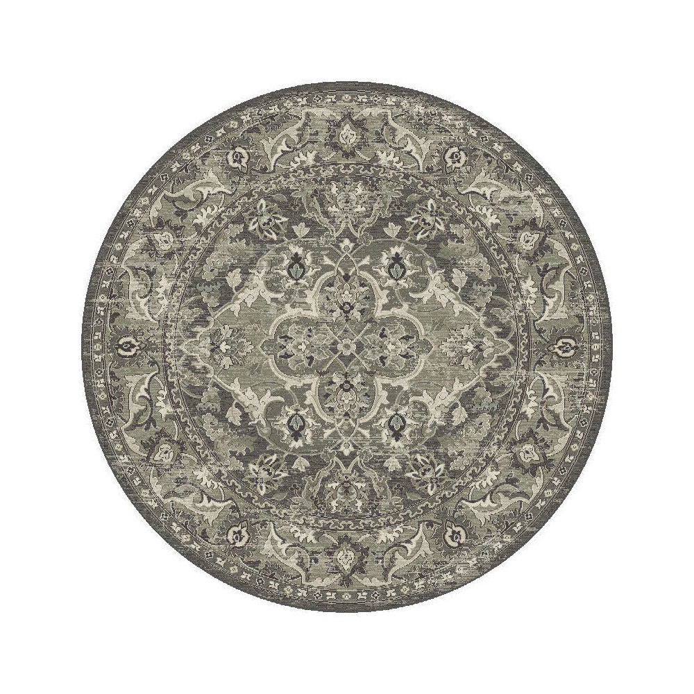 Slate Damask Pressed/Molded Round Area Rug 7'10 - Kas Rugs, Gray