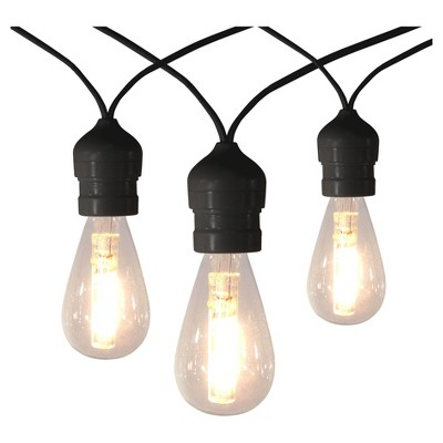 10ct Outdoor LED Vintage Warm White String Lights with Black Wire - Threshold™