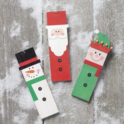 Lakeside Santa Claus, Snowman, and Elf Characters Christmas Tree Ornaments - Set of 3