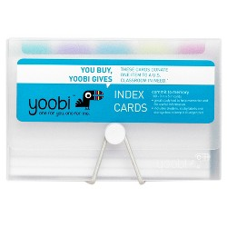 "Yoobi™ Index Cards in Plastic Box with Dividers - Clear Box, 3"" x 5"", 100 Cards"