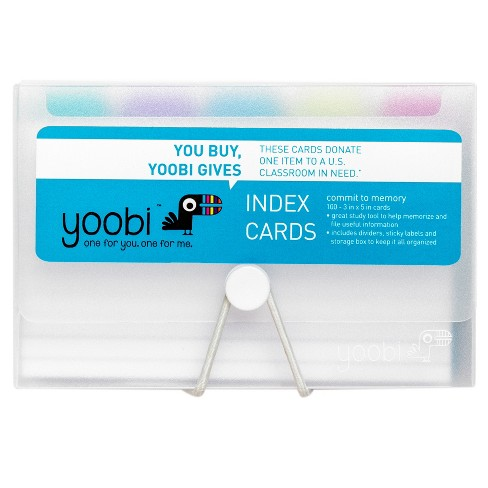 Yoobi Index Cards In Plastic Box With Dividers Clear Box 3 X 5 100 Cards