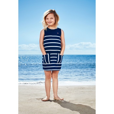 71a3521d83f Girls  Striped Sleeveless Crewneck Tank Dress - Navy White ...