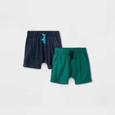 Toddler Boys' 2pk Jersey Pull-On Shorts - Cat & Jack™ Navy/Green