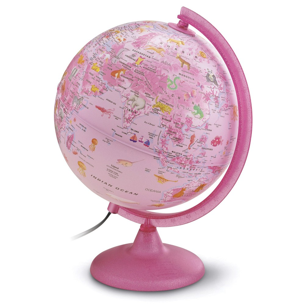 "Image of ""10"""" Illuminated Safari Explorer World Globe Pink - Waypoint Geographic"""