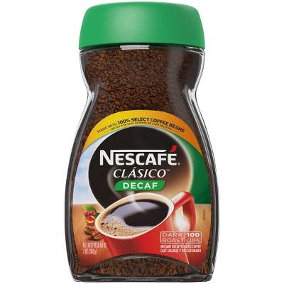 Nescafe Clasico Decaf Dark Roast Coffee, 7 Ounce