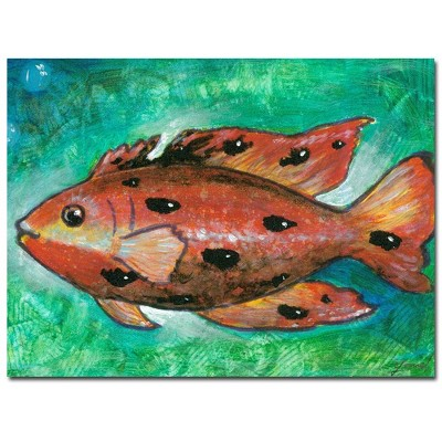 "18"" x 24"" Orange Fish by Yonel - Trademark Fine Art"