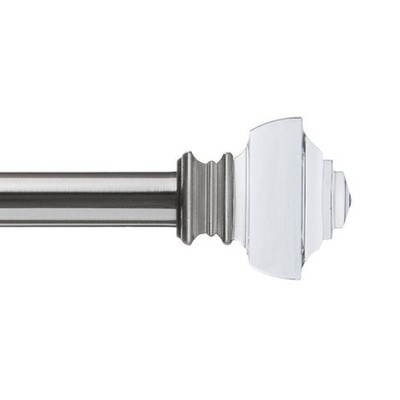Decorative Drapery Curtain Rod with Crystal Square Finials Brushed Nickel - Lumi