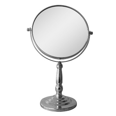 "Freestanding Bath Magnifying Makeup Mirror Light Silver 14"" - Elegant Home Fashions"