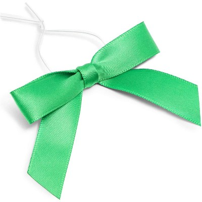 "Bright Creations 3"" Green Satin Bow Twist Ties with Clear Twist Ties for Treat Bags and Gift Package, 100 Pack"
