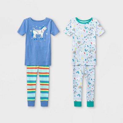 Toddler Girls' 4pc Zebra Snug Fit Pajama Set - Cat & Jack™ Blue