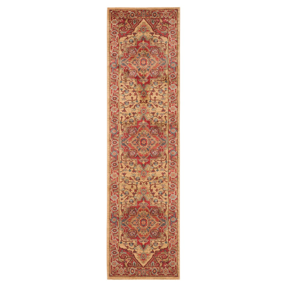 Red Natural Floral Loomed Runner 2 2 X14 Safavieh