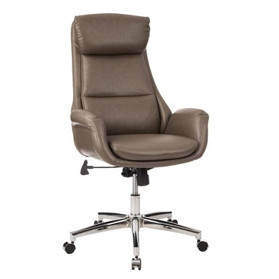 Mid-Century Modern Brownish Leatherette Adjustable Swivel High Back Office Chair Gray - Glitzhome
