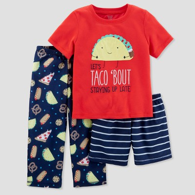 Toddler Boys' 3pc Taco Bout Staying Up Pajama Set - Just One You® made by carter's Red 5T