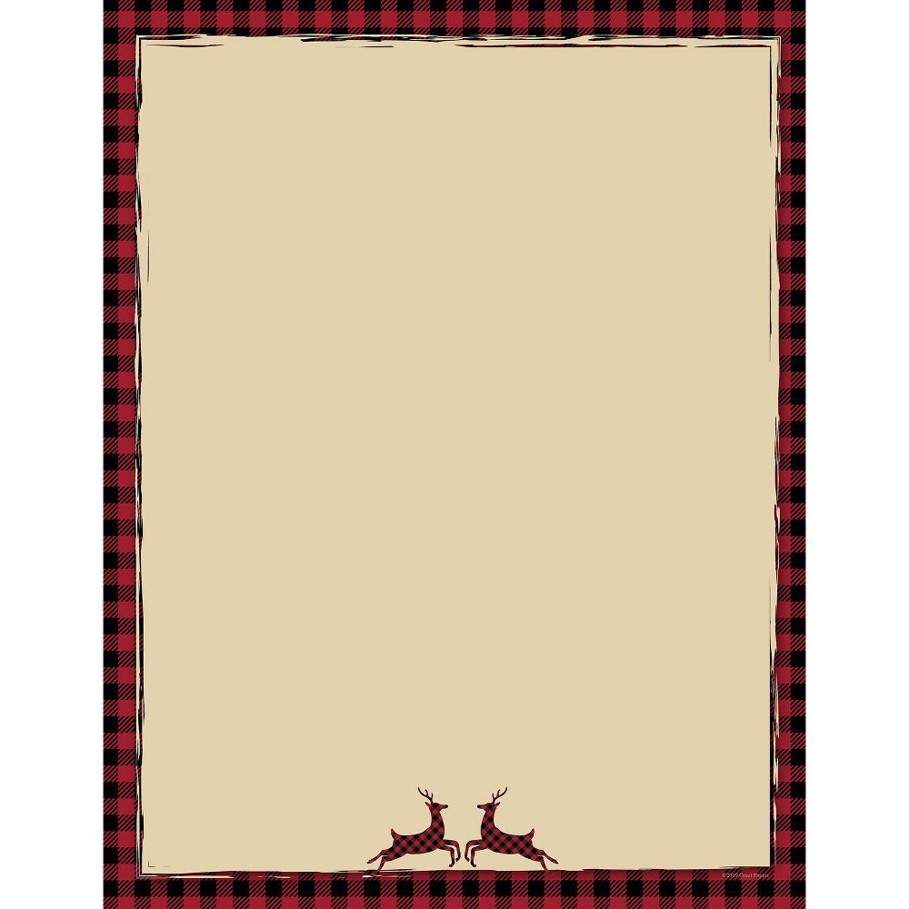 Image of 25ct Buffalo Plaid Reindeer Letterhead