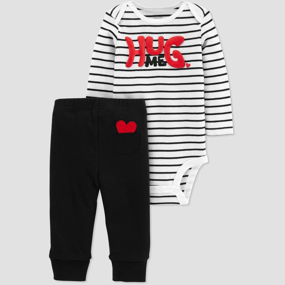 Image of Baby 2pc Hug Me Bodysuit Set - Just One You made by carter's White 12M, Kids Unisex