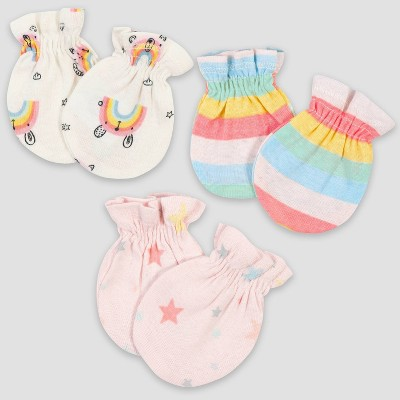 Gerber Baby Girls' 3pk Rainbow Mittens - Pink