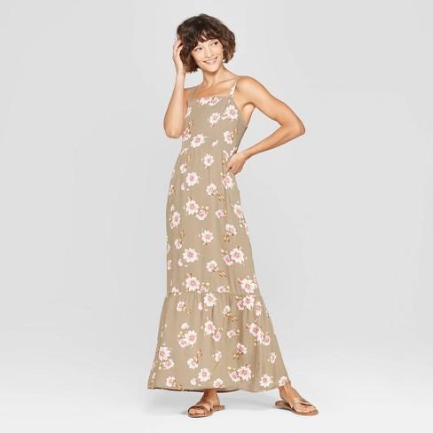 4c39f9777b Women s Floral Print Strappy Tiered Maxi Dress - Xhilaration™ Olive ...