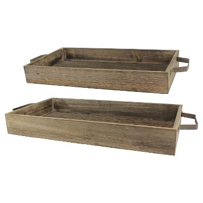 Stonebriar Industrial Wood Trays with Rustic Metal Handles - Set of 2