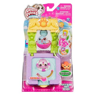 Chubby Puppies and Friends – 2-in 1 Flip N Island Party Playset with Mahalo Monkey Collectible Figure