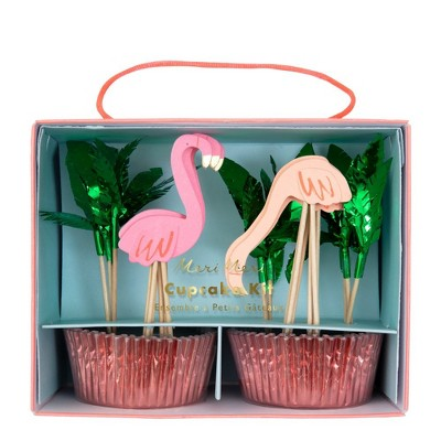 Meri Meri - Flamingo Cupcake Kit - Baking Cups - 24 cupcake liners with toppers