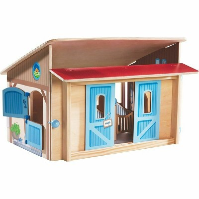 HABA Little Friends Wooden Horse Stable Riding School with Detailed Illustration