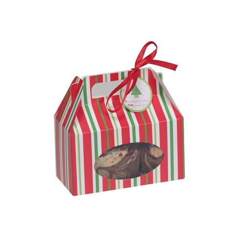 4ct Red & Green Striped Cookie Box Red - image 1 of 1