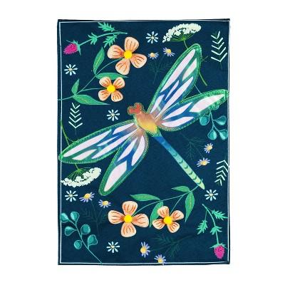 Evergreen Flag Dragonfly Garden House Linen Flag