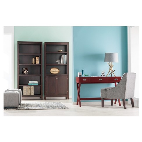 72 Carson 5 Shelf Bookcase With Doors Espresso Brown