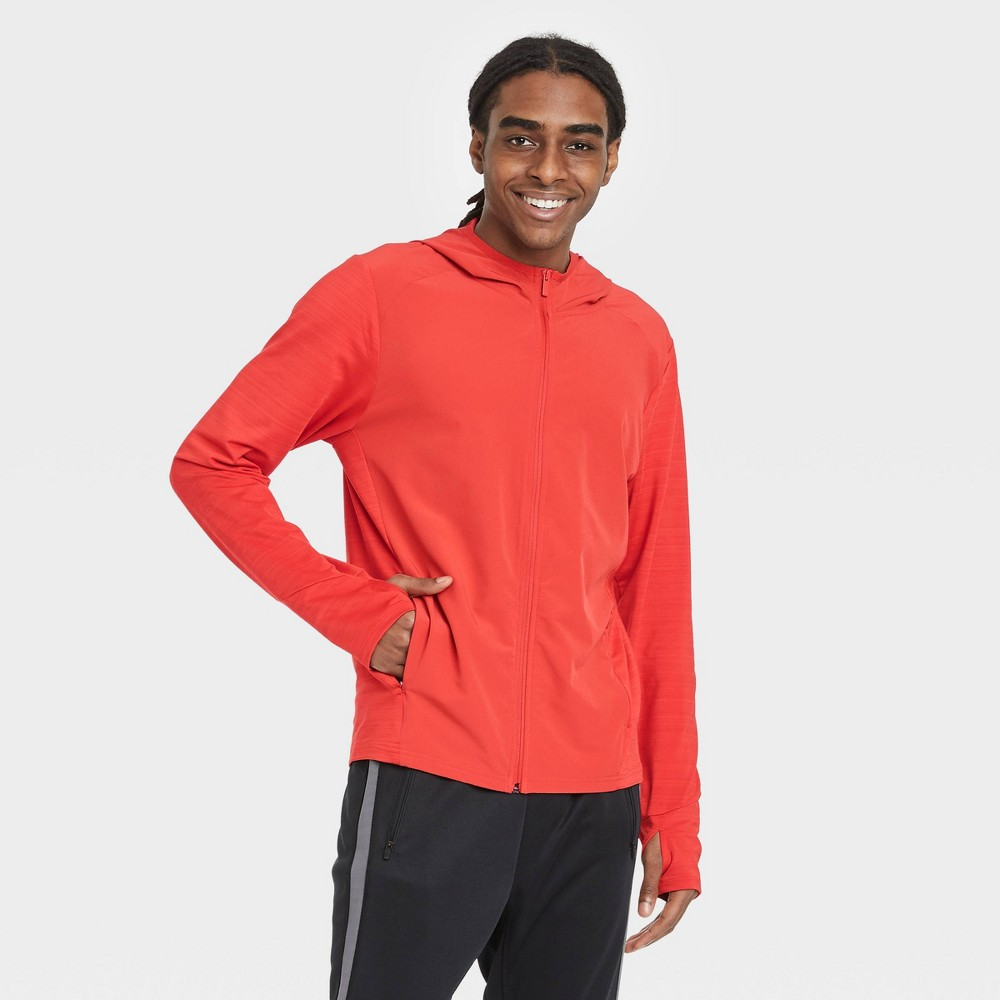 Men 39 S Knit To Woven Full Zip Sweatshirt All In Motion 8482 Red Xxl