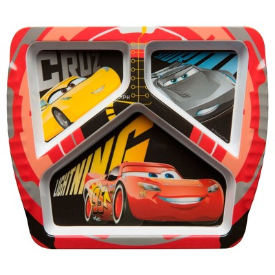 Cars 8.6  x 7.5  Plastic Divided Plate Red - Zak Designs