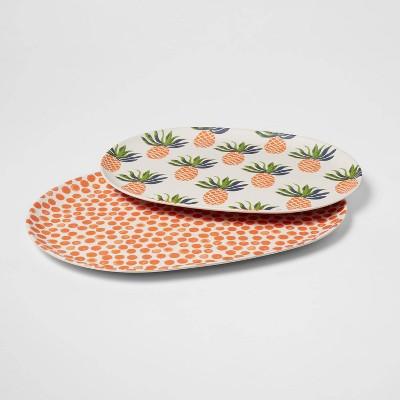 2pc Melamine and Bamboo Pineapple Platter Set - Opalhouse™