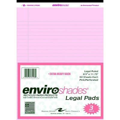 Enviroshades Legal Pads, 8-1/2 x 11-3/4 Inches, Pink, 50 Sheets, pk of 3