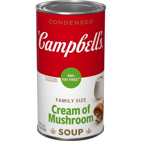 Campbell's Condensed 98% Fat Free Family Size Cream Of Mushroom Soup - 22.6oz - image 1 of 4