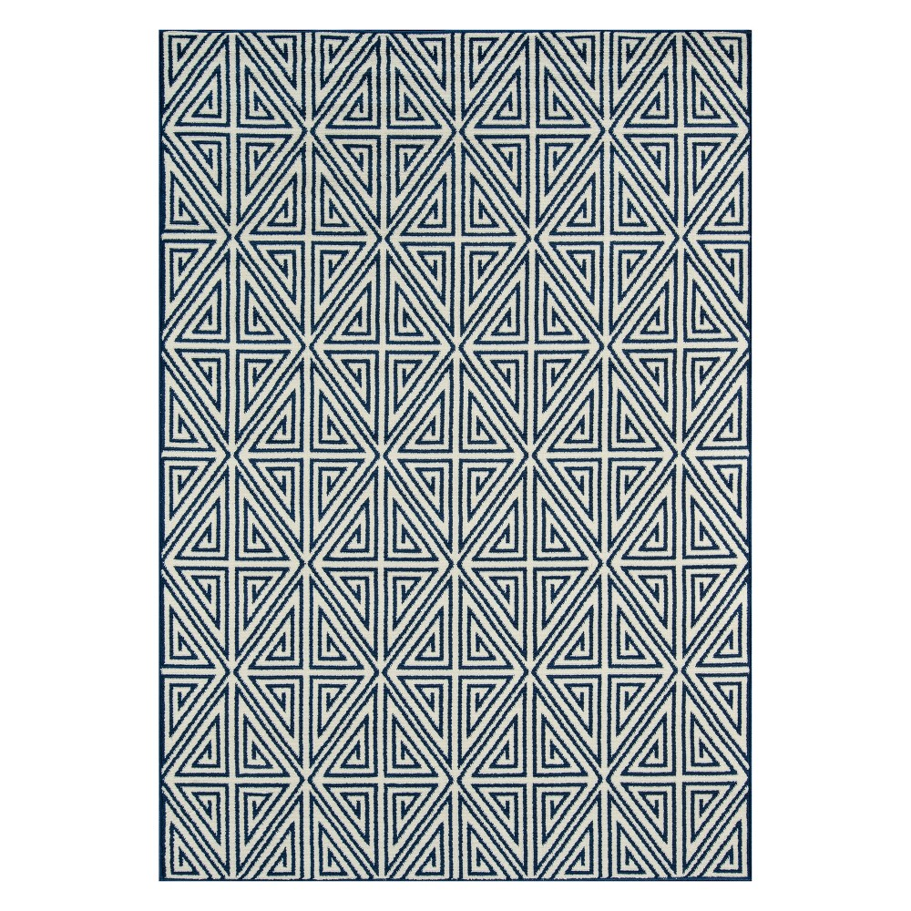 "Image of ""1'8""""X3'7"""" Geometric Loomed Accent Rug Navy - Momeni, Blue"""