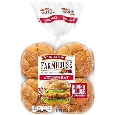 Pepperidge Farm Farmhouse Stone Ground Wheat Hamburger Buns, 20oz Bag, 8pk