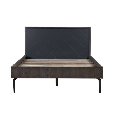 Cross Solid Oak and Metal Platform Bed Dark Gray - Armen Living